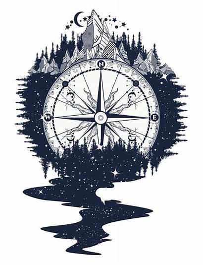 Compass Rose Transparent Clip Clipart Tattoo Mountain