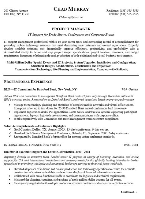 resume of experienced project manager experienced it project manager resume sle writing resume sle writing resume sle