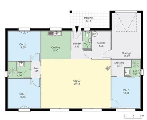 plan plain pied 3 chambres maison de plain pied dé du plan de maison de