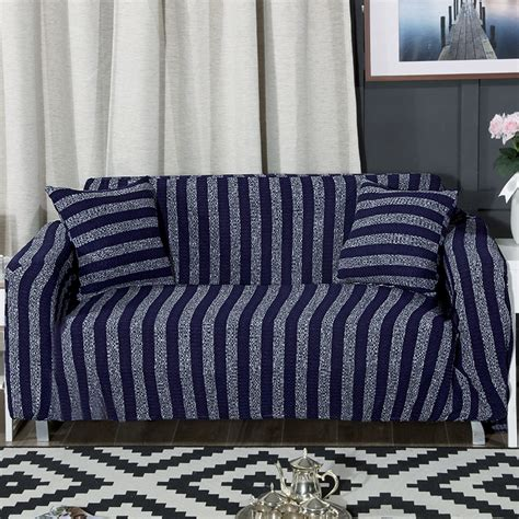Universal Slipcovers by Elastic Sofa Cover Knitted Blue Stripes Slipcovers