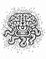 Crazy Coloring Pages Brain Clipart Printable Adults Halloween Optical Illusion Cliparts Adult Colouring Clip Sheets Fanta Designs Library Sheknows Printables sketch template