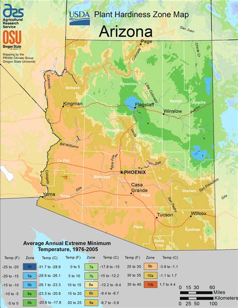 Arizona Plant Hardiness Zone Map • Mapsofnet