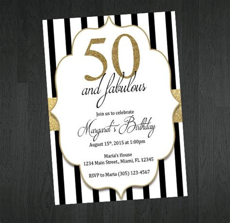 Black White And Gold Birthday Invitations