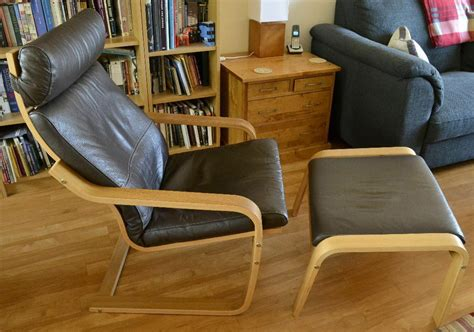 Ikea Poang Chair + Footstool In Oak With Brown Leather