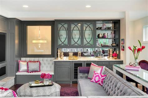 Pink And Gray Living Room With Gray Wet Bar-contemporary