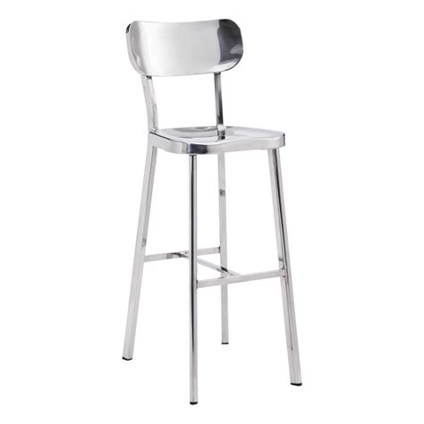 zuo winter in polished stainless steel bar stool stainless