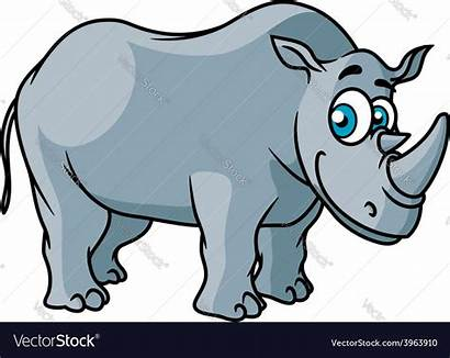 Rhino Cartoon Grey Vector Character Royalty