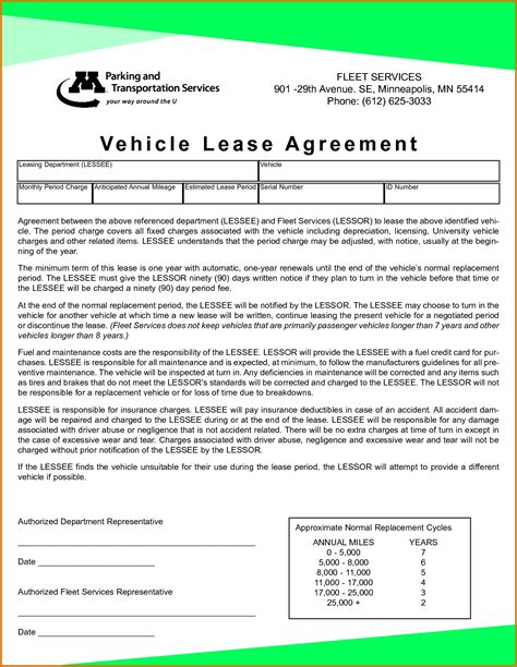 original  printable vehicle lease agreement vo