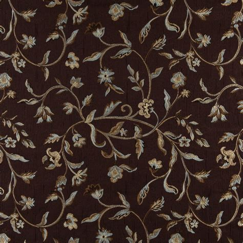 floral upholstery fabric a0011f brown light blue gold and ivory floral upholstery