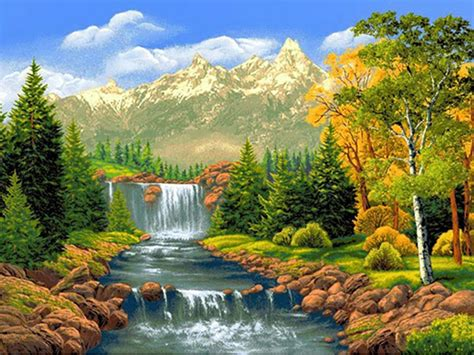 Nature Painting Wallpaper by Nature Scenery Waterfall Trees Diy Painting Kits