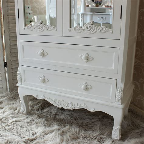 antique white painted mirror closet shabby french chic