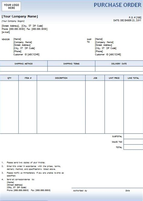 Po Template For Word by 5 Purchase Order Templates Excel Pdf Formats