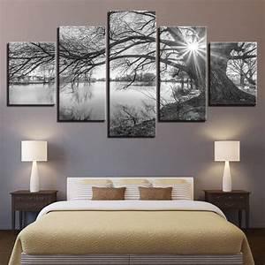Tableau Pour Chambre Adulte : wall art imprimer toile peinture 5 pieces lakeside grands arbres noir blanc paysage affiches ~ Melissatoandfro.com Idées de Décoration