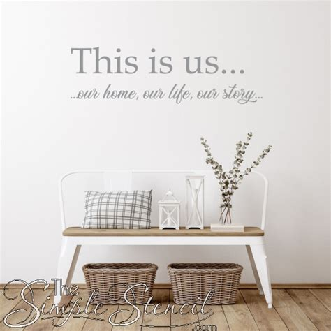 Our unframed art collection features high definition canvas prints and artwork available for purchase at a fraction of their value because framing is not included. This Is Us... Our home, our life, our story... | Entryway Foyer Vinyl Wall Decal Art