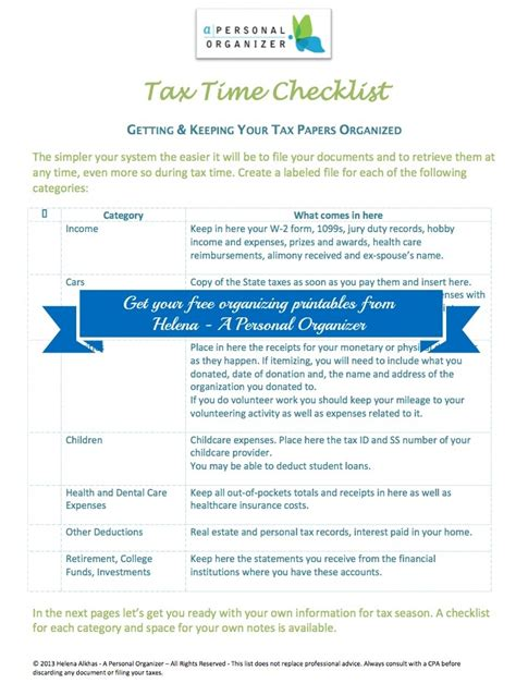 tax documents checklist simple paper and filing system