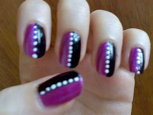 Purple black striped nails by taralr on deviantart