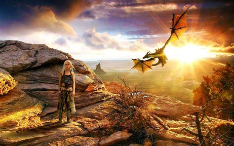 daenerys  dragon wide desktop background wallpaper