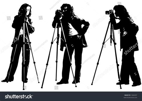 12238 photographer tripod silhouette photographer silhouette black white isolated stock