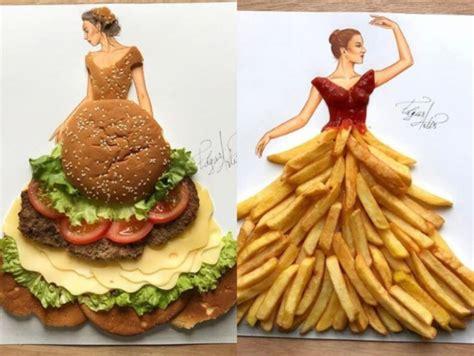 unik  sketsa busana  dibuat menggunakan bahan makanan