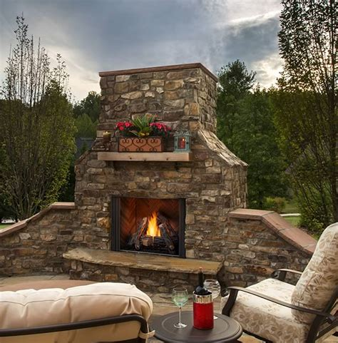 majestic  courtyard outdoor fireplace