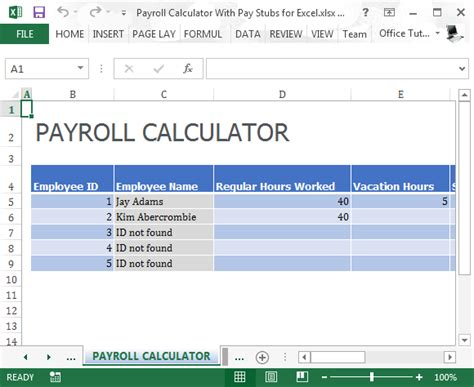 payroll calculator  pay stubs  excel