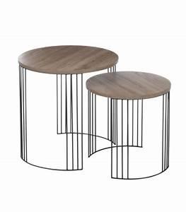 Table Gigogne Design : set de 2 tables basse design rondes en bois et chrome ~ Teatrodelosmanantiales.com Idées de Décoration