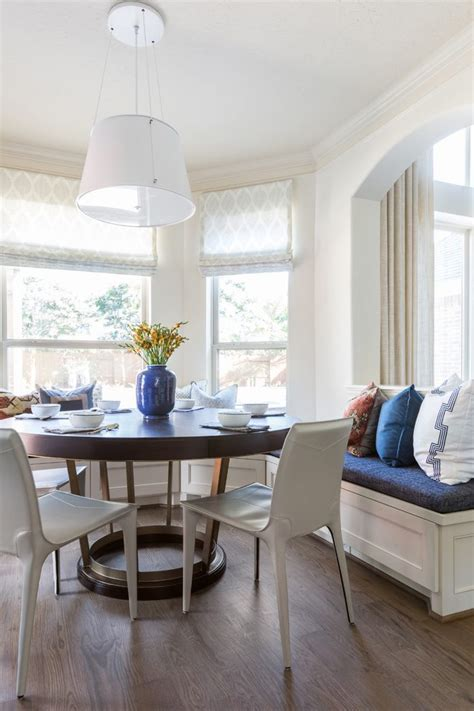 Lovely Brown And Blue Dining Room With Curtains White Wood