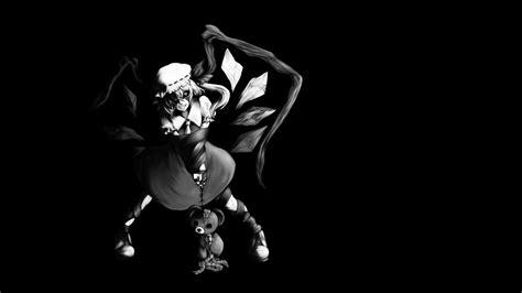 black  white video games touhou wings black dark dress