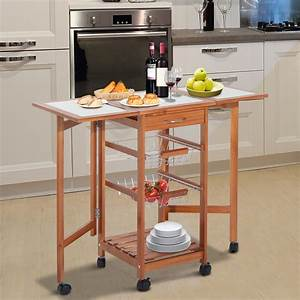Portable Rolling Drop Leaf Kitchen Storage Tile Top Island
