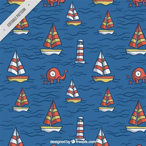 Sailing Boat Elements by Sailing Boats Pattern Vector Free Download