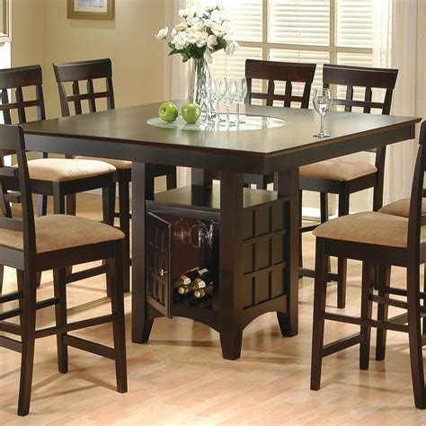 For residential use set includes table and 4 barstools features the panache of a pub with all comfort and convenience of full scale dining. Coaster Mix & Match 100438 Counter Height Dining Table with Storage Pedestal Base | Del Sol ...