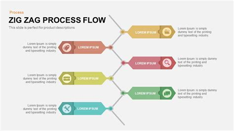 zig zag process flow powerpoint template  keynote