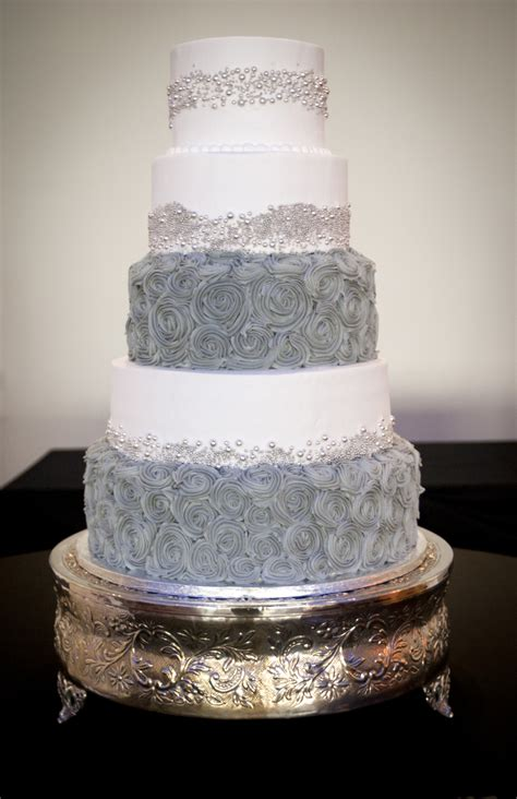 3 Tier Wedding Cake Covered In Fondant With Gumpaste Lace