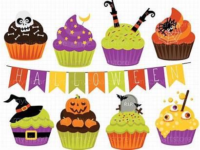 Halloween Clipart Cupcake Pumpkin Cupcakes Spider Vector