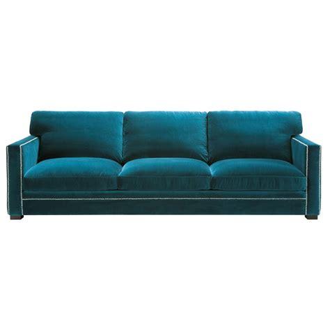 canape velour 4 5 seater velvet sofa in blue dandy maisons du monde