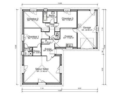 plan maison 90m2 3 chambres superbe plan maison 90m2 3 chambres 9 plan maison 3