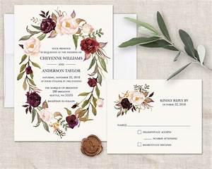 floral wreath wedding invitations marsala wedding burgundy With burgundy wedding invitations australia