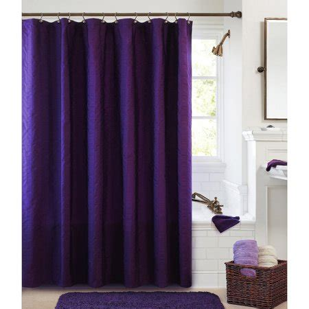 purple shower curtains better homes and garden gathered stripe fabric shower