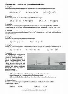 Scheitelpunkt Berechnen Aufgaben Mit Lösungen : parabeln aufgaben mit l sungen parabel berechnen klasse 9 ~ Themetempest.com Abrechnung