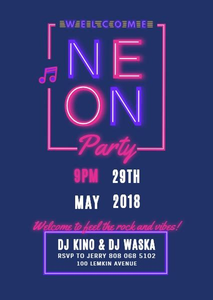 neon party invitation template fotor design maker