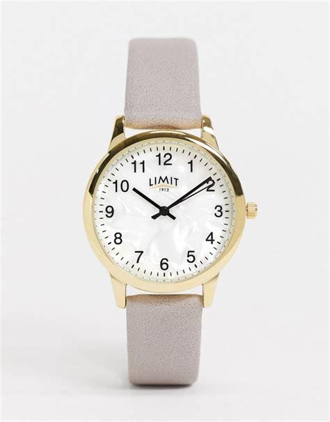 limit horloge met leren bandje  grijs met witte wijzerplaat asos