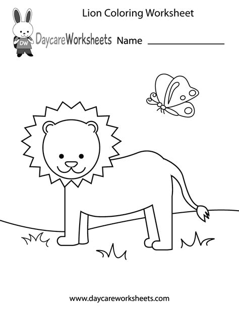 preschool lion coloring worksheet