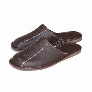 buy chockolate brown leather mule slippers for men model With letter slippers