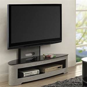 Cohen Curved Cantilever TV Stand In Grey Ash And Black