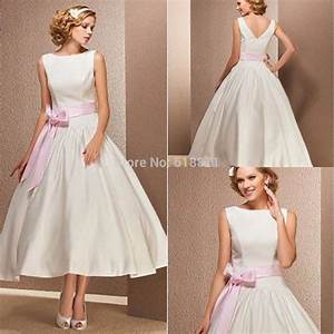 simple satin wedding dresses with pink sashes high neck With pink tea length wedding dress