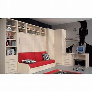 armoire lit escamotable combine bureau au meilleur prix With nettoyage tapis avec armoire lit avec canapé intégré