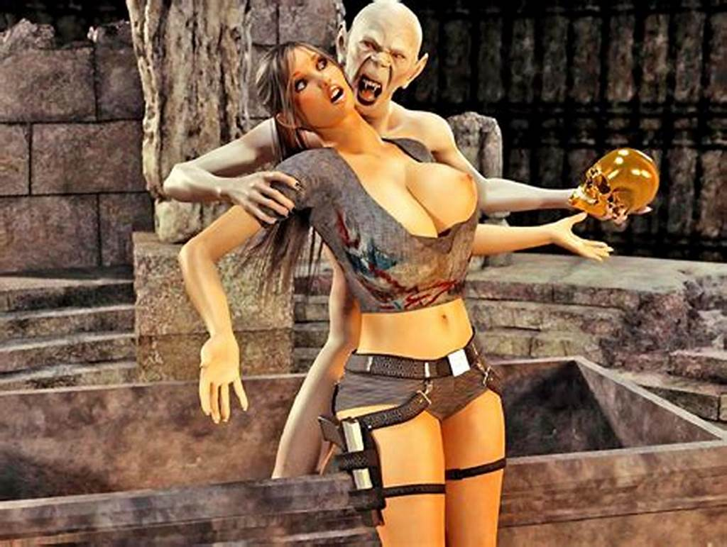 #Busty #Charming #Tomb #Raider #Posing #And #Sucking #Monster'S