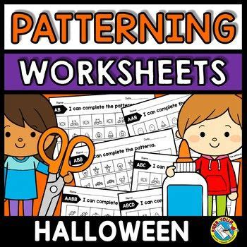 repeating patterns worksheets halloween activity