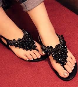 Rhinestone Flat Sandals for Women