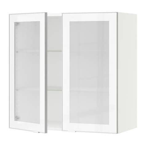 Ikea Cabinet Fronts by Sektion Wall Cabinet With 2 Glass Doors Jutis Frosted